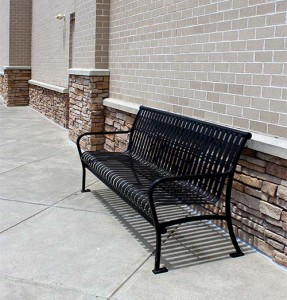 Park Bench Installation Give your customers a place to sit when you hire us to install park benches. We have standard maintenance-free metal benches, upgraded stone and metal benches, and eco-friendly recycled plastic benches. All of which are available in different colors.